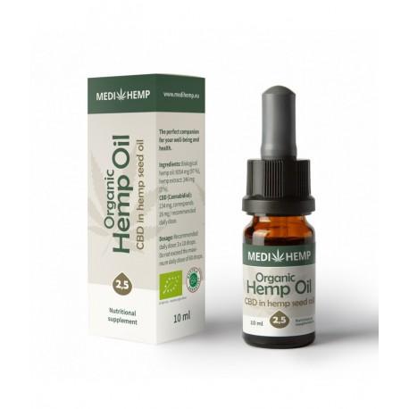 Organic Hemp Oil 2.5% CBD - 10ml